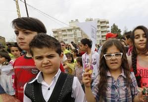 Crianças em Beirute, no Líbano Foto: ANWAR AMRO / AFP