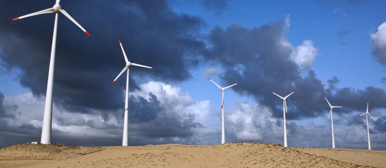 Turbinas eólicas em Beberibe, no Ceará Foto: Adriano Machado