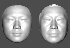 Com o passar dos anos, características faciais como distâncias entre olhos e da boca ao nariz mudam, como mostram estes perfis combinados das faces de indivíduos chineses da etnia han, um jovem (à esquerda) e um idoso (à direita) Foto: Reprodução/Academia de Ciência da China