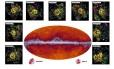 """No centro da imagem, um mapa do céu produzido pelo telescópio espacial Planck em comprimentos de onda submilimétricos (545 GHz) com os pontos pretos indicando as fontes de radiação identificados como possíveis aglomerados """"bebê"""", que depois foram observados pelo telescópio espacial Herschel (detalhes no entorno), com os contornos indicando a densidade da presença de galáxias nestes objetos"""