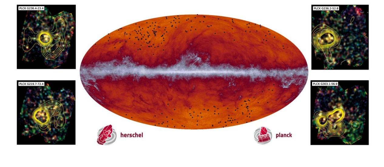 """No centro da imagem, um mapa do céu produzido pelo telescópio espacial Planck em comprimentos de onda submilimétricos (545 GHz) com os pontos pretos indicando as fontes de radiação identificados como possíveis aglomerados """"bebê"""", que depois foram observados pelo telescópio espacial Herschel (detalhes no entorno), com os contornos indicando a densidade da presença de galáxias nestes objetos Foto: ESA/Planck/H. Dole/D. Guéry/G. Hurier"""