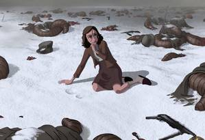 Cena do filme mostra Anne Frank em meio à devastação causada pela guerra Foto: Divulgação