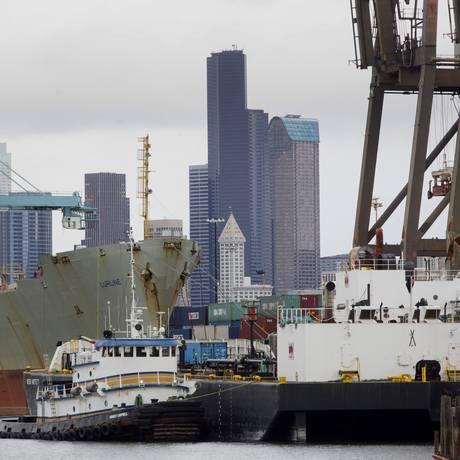 Porto de Seattle, em Washington, EUA Foto: Mike Kane / Bloomberg