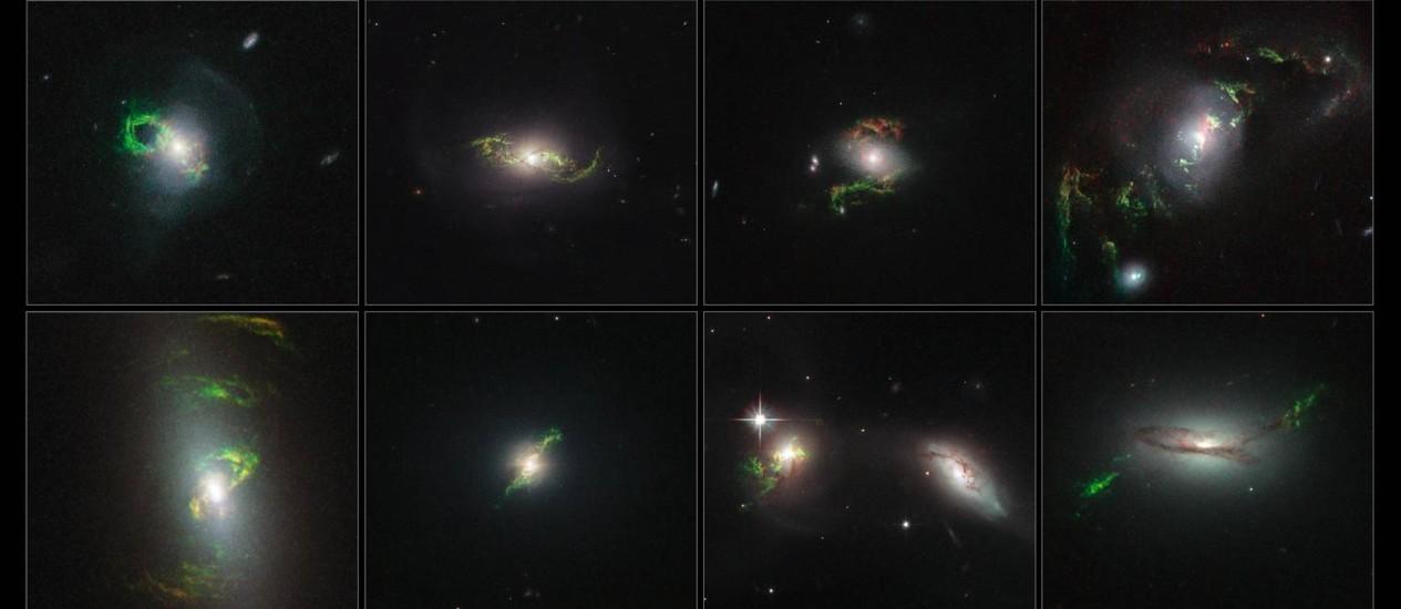 """Mosaico mostra as oito galáxias em que o Hubble observou os """"fantasmas"""" da atividade dos buracos negros em seus centros na forma de nuvens brilhantes em seu entorno Foto: NASA/ESA/Galaxy Zoo"""