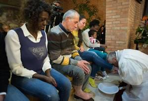 Papa Francisco em cerimônia de lava-pés Foto: L'Osservatore Romano /