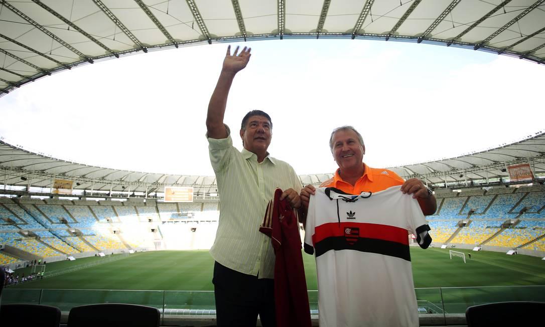 Joel Santana e Zico se reencontraram nesta quinta-feira no Maracanã Cezar Loureiro / Agência O Globo