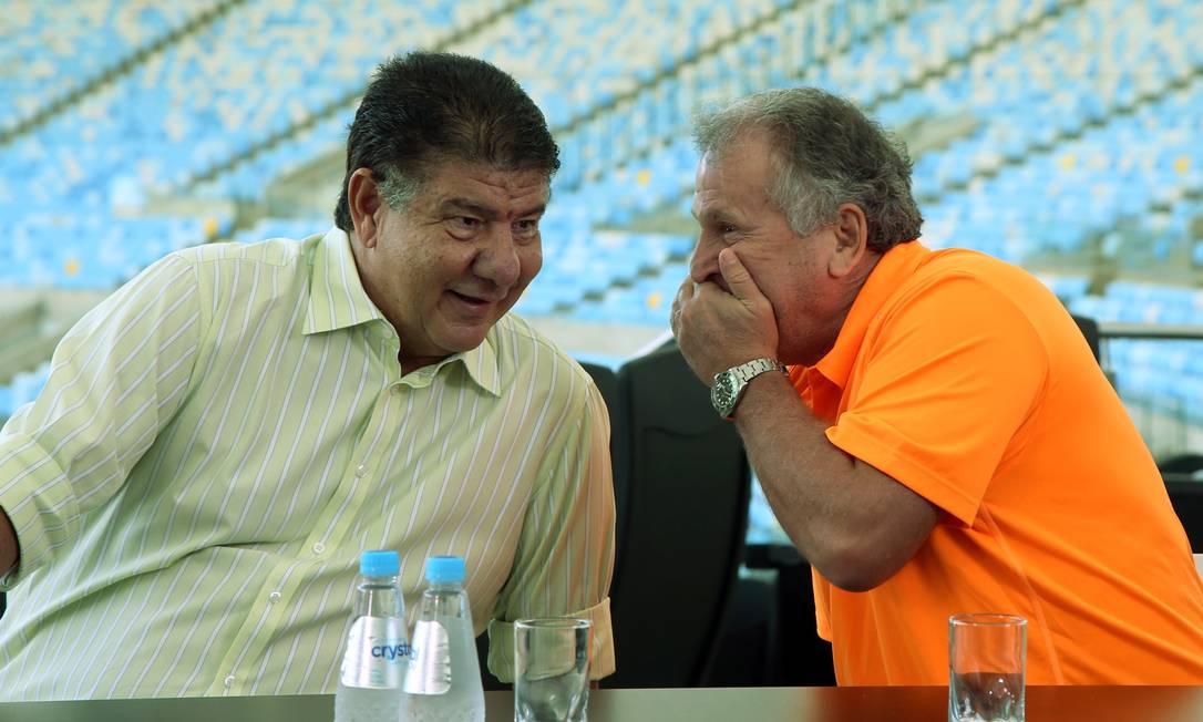 Joel e Zico conversam durante palestra no Maracanã Cezar Loureiro / Agência O Globo