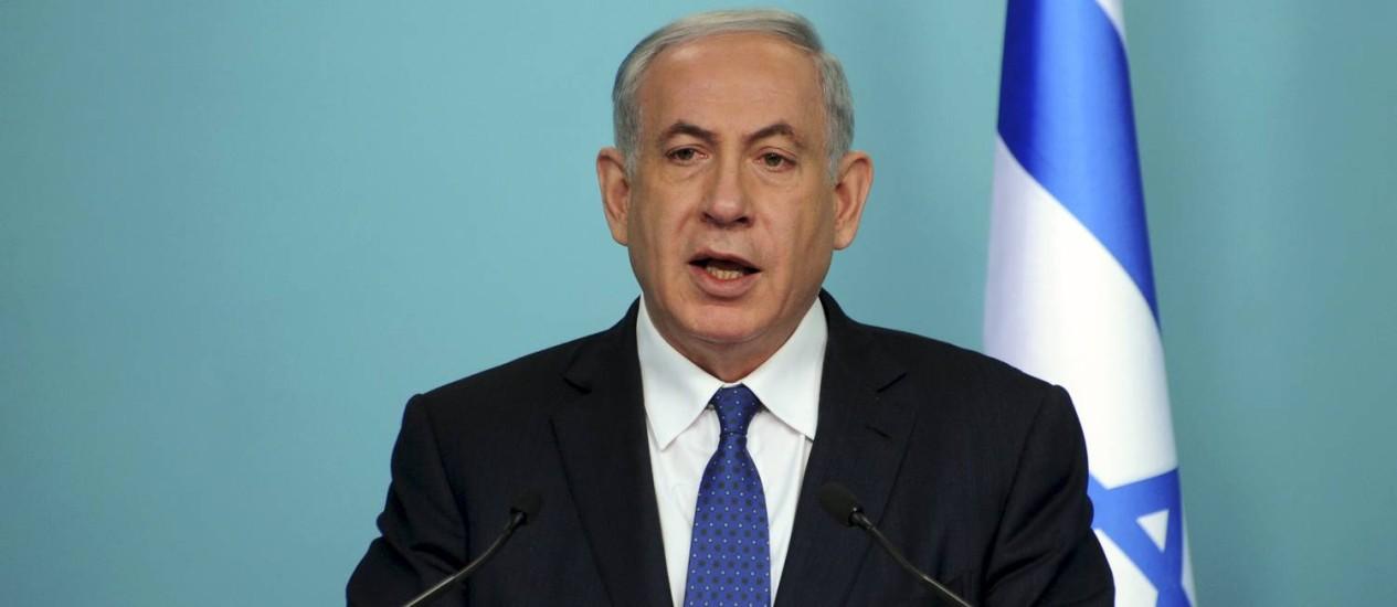 Benjamin Netanyahu. Primeiro-ministro israelense destacou ameaça iraniana em publicação no Twitter Foto: POOL / REUTERS