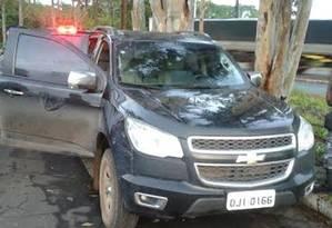 Caminhonete usada durante a fuga dos criminosos. Foto: Divulgação PRF