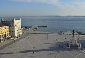 """O Terreiro do Paço, onde acontecerá o festival gastronômico """"Peixe em Lisboa"""" Foto: Cristina Massari / O Globo"""