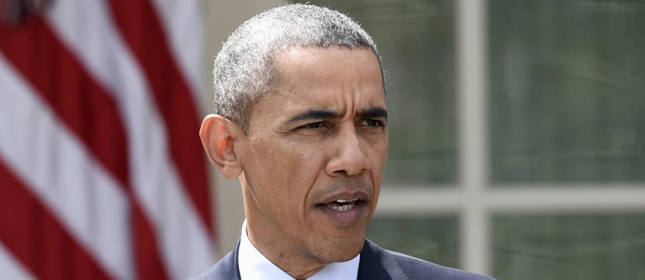 """""""É como dizer que não assinaríamos um acordo a menos que a natureza do regime iraniano se transformasse completamente"""", disse obama sobre pressão para que o país reconheça Israel Foto: Susan Walsh / AP"""