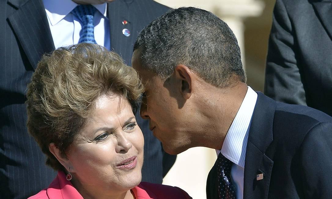 Dilma Rousseff e Barack Obama durante encontro do G20 em 2013. Presidentes de Estados Unidos e Brasil terão reunião bilateral durante a Cúpula das Américas Foto: JEWEL SAMAD / AFP