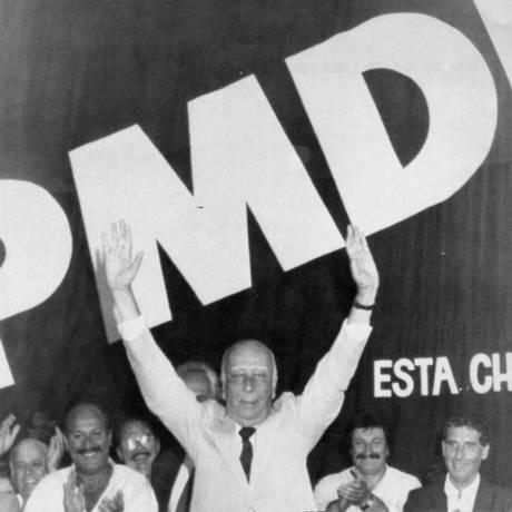 """Ulysses: nos momentos difíceis durante a ditadura, """"o velho timoneiro"""" conduzia seu partido para a moderação Foto: Josemar Gonçalves/AFP/1-5-1989"""
