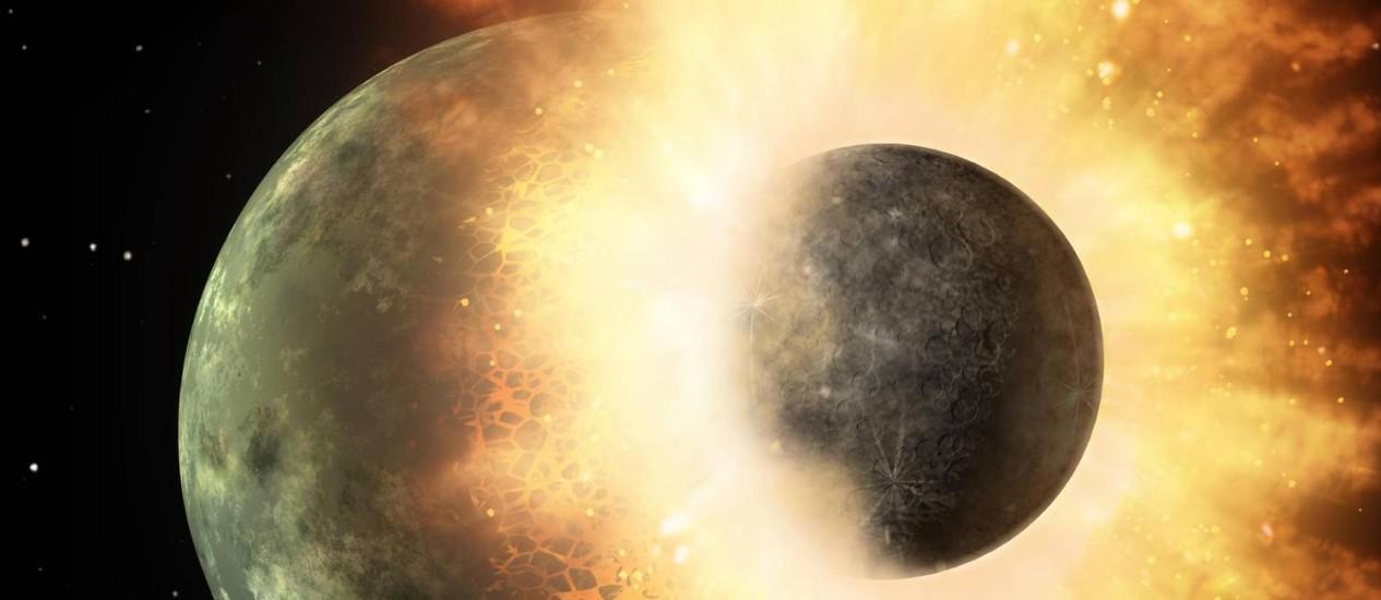 Ilustração mostra choque entre dois corpos planetários como a Terra e Marte: uma grande colisão como esta, há bilhões de anos, é a principal teoria atual para explicar a formação da Lua Foto: Nasa/JPL-Caltech