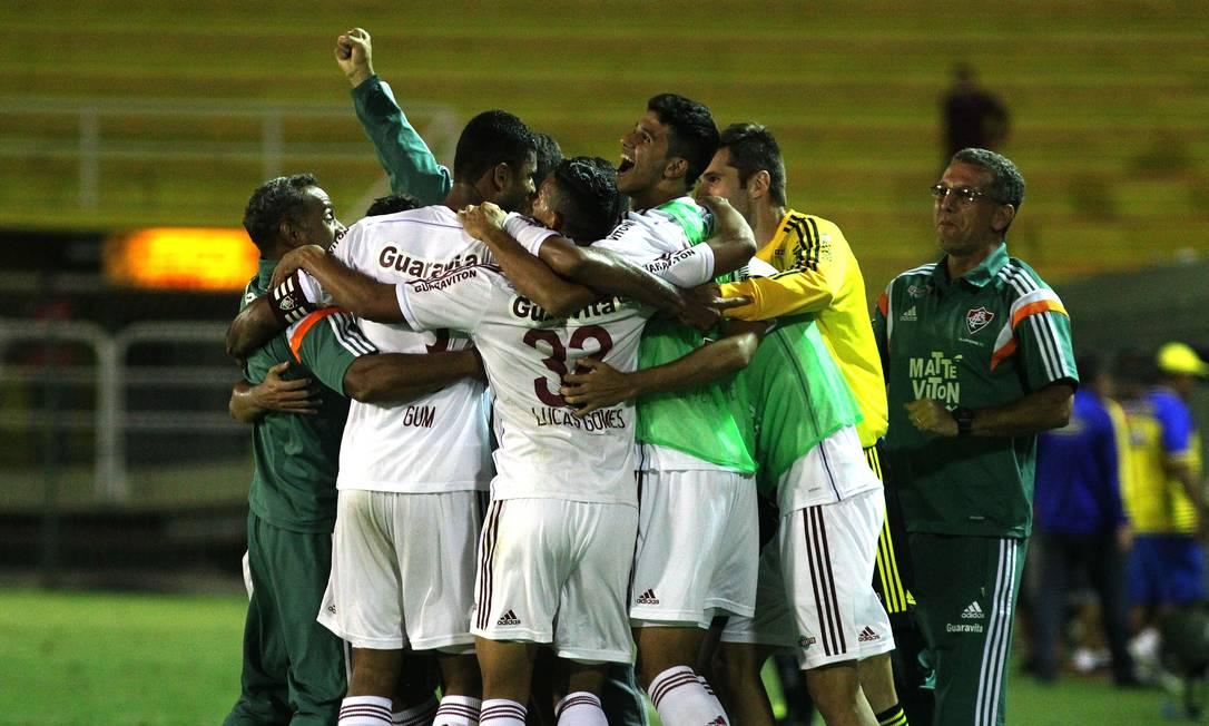 Festa dos jogadores do Fluminense após a classificação Nelson Perez / Fluminense
