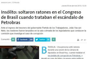 """O jornal argentino """"La Nación"""" classifica o incidente com ratos na Câmara como """"incomum"""" Foto: Reprodução - """"La Nación"""""""