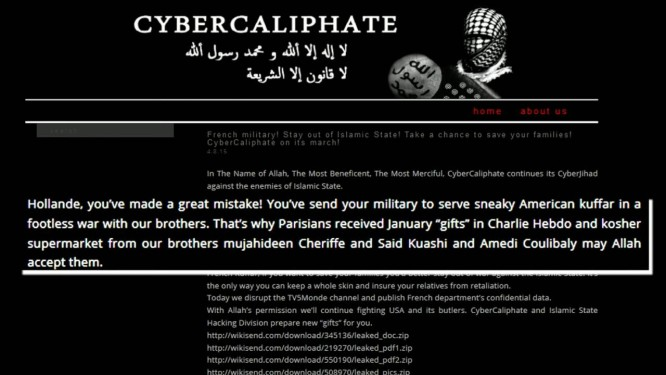Tela do site da TV5 foi subistuída por imagem de apoio ao Estado Islâmico Foto: ap