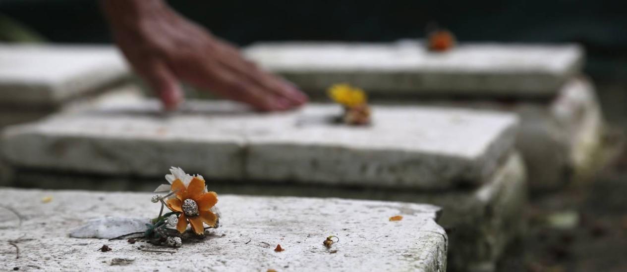 Os 25 jazigos do tamanho de uma caixa de sapato são enfeitados com flores de plástico Foto: Custódio Coimbra
