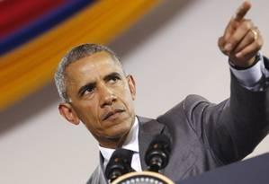 Barack Obama em discurso na Jamaica. Presidente americano pode amenizar relações com Cuba e Venezuela Foto: JONATHAN ERNST / REUTERS