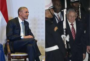 Obama e Raúl Castro em território panamenho Foto: Mandel Ngan/Inti Ocan / AFP (Montagem)