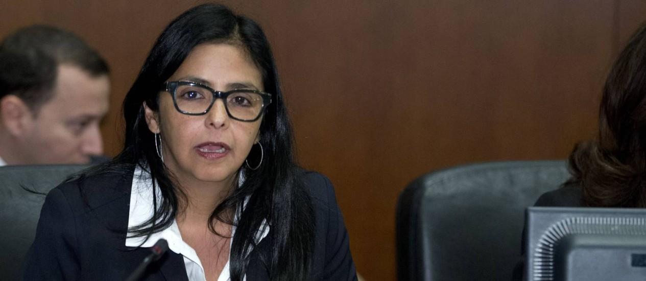 Delcy Rodriguez. Chanceler criticou ex-presidentes que assinaram documento exigindo libertação de opositores venezuelanos Foto: Jose Luis Magana / AP