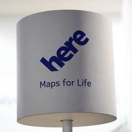 Logo da Here, unidade da Nokia dedicada a mapas que fornece dados para Amazon, Microsoft, Yahoo! e sistemas de navegação de carros Foto: Simon Dawson / Bloomberg