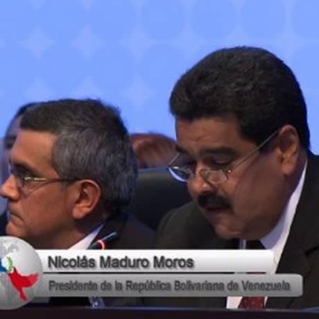 Presidente venezuelano, Nicolás Maduro, discursa durante a Cúpula das Américas, no Panamá