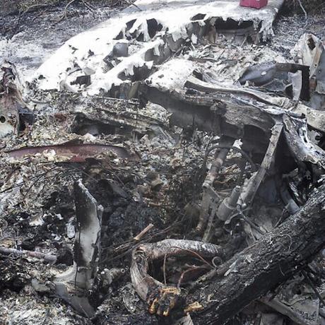 Destroços do avião que caiu no Piauí Foto: Efrém Ribeiro