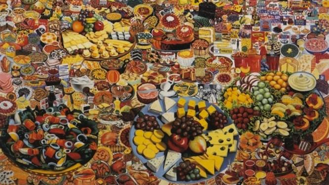 """A tela """"Foodscape"""" (junção das palavras """"comida"""" e """"paisagem""""), de 1964, do artista islandês Erró Foto: Reprodução"""
