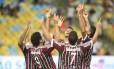Jogadores do Flu festejam: time inverteu a vantagem que era do Botafogo na semifinal