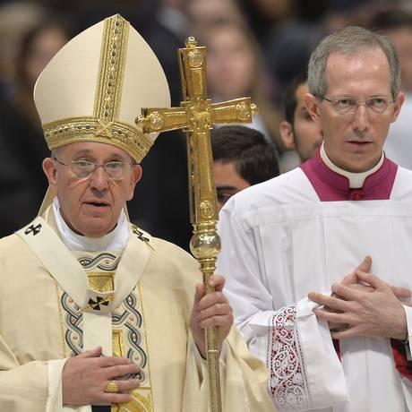 Papa Francisco celebra missa para armênios católicos na Basílica de São Pedro, no Vaticano Foto: ANDREAS SOLARO / AFP