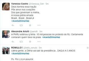 Internautas criaram hashtag no Twitter para criticar manifestações contra Dilma Foto: Reprodução Twitter