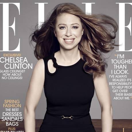 Chelsea Clinton é capa da edição de maio da revista Elle Foto: Divulgação