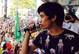 Kim Kataguiri, líder do Movimento Brasil Livre Foto: Facebook / Reprodução