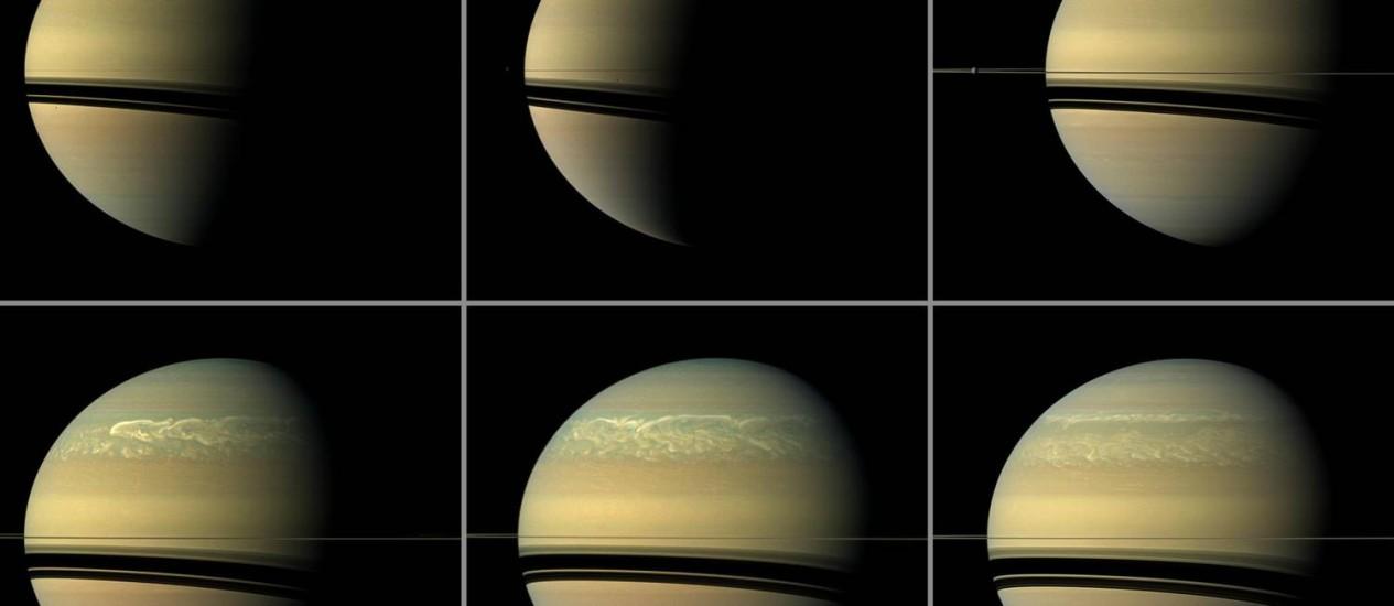 Imagens da sonda Cassini mostram a formação e evolução da última supertempestade em Saturno: entre dezembro de 2010 e agosto de 2011, sistema tomou o Hemosfério Norte do planeta Foto: Nasa/JPL-Caltech