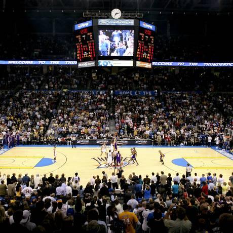Jogo da NBA entre Oklahoma City Thunder e Los Angeles Lakers Foto: J.P. WILSON / BLOOMBERG NEWS/24-3-2009