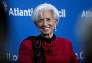 A diretora-gerente do FMI Christine Lagarde Foto: Andrew Harrer / Bloomberg