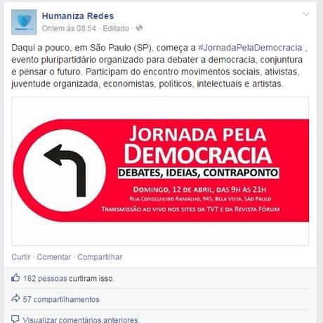 Humaniza Redes, ação contra intolerância virtual, convocou o ato Foto: Reprodução/Facebook