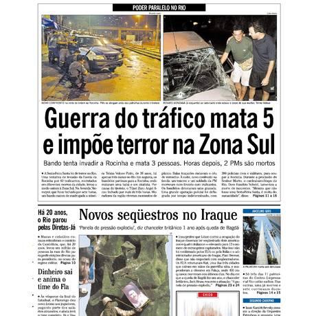 Reprodução da capa do GLOBO no dia 10 de abril de 2004 Foto: Arquivo O Globo