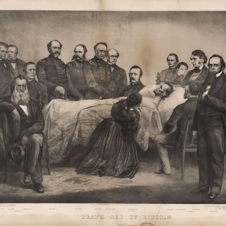 Gravura retrata a morte de Lincoln, 150 anos atrás Foto: -- / AFP