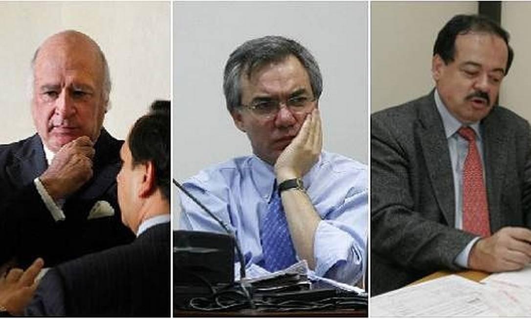Sabas Pretelt, Diego Palacio e Alberto Velásquez. Trio foi condenado pela Justiça colombiana por oferecer propinas a parlamentares em troca de votos favoráveis a reeleição de Uribe Foto: El Tiempo/GDA