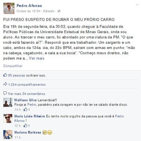 A publicação feita pelo estudante Pedro Henrique Afonso em seu perfil na rede social Facebook Foto: Reprodução