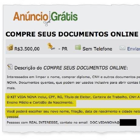 Comércio ilegal na internet oferece de título de eleitor a diploma de Ensino Médio Foto: Reprodução