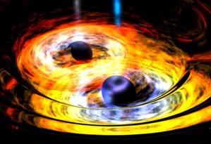 Ilustração da Nasa mostra um sistema binário de dois buracos negros supermaciços com a visualização de seus discos de acreção e as ondas gravitacionais emitidas por sua dança mortal Foto: Nasa