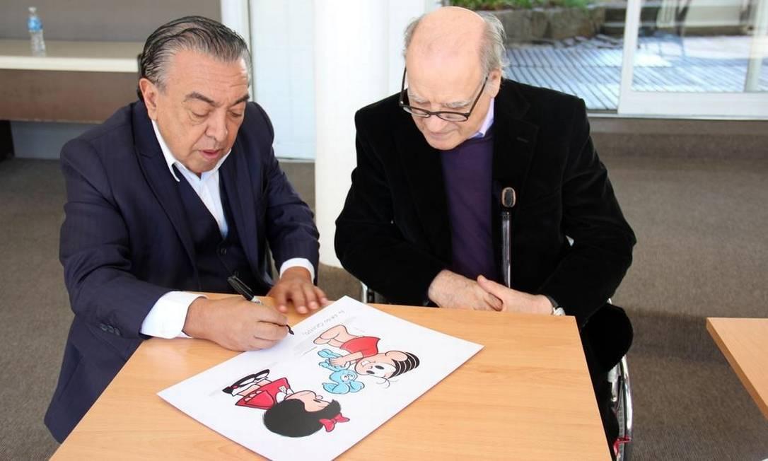 Encontro entre Mauricio de Sousa e Quino Foto: Embaixada do Brasil em Buenos Aires