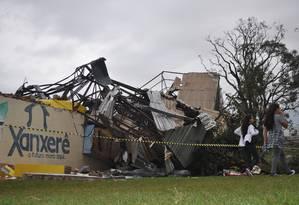 Destroços no bairro dos Esportes, em Xanxerê, Santa Catarina Foto: Rafaela Menin