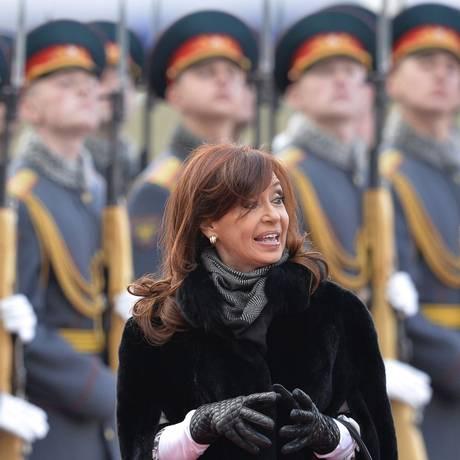 A presidente da Argentina, Cristina Fernandez, durante visita a Moscou, Rússia Foto: YURI KADOBNOV / AFP