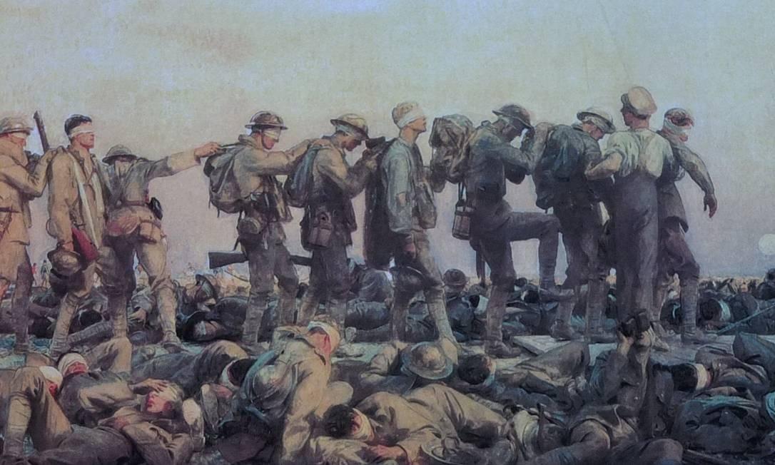 """O quadro """"Gassed"""" (1919), de John Singer, retrata o terror do ataque com gases venenosos na Primeira Guerra Foto: Reprodução"""