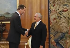 Vice-presidente Michel Temer é recebido pelo rei Felipe VI da Espanha na Casa Real em Madri Foto: Anderson Riedel / Divulgação