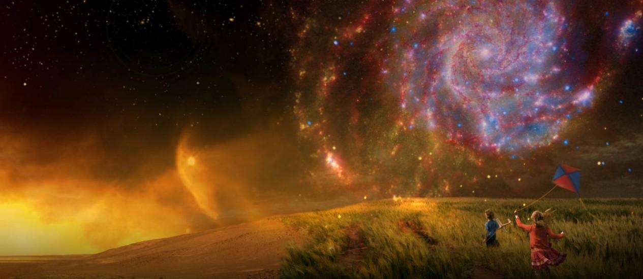 Ilustração da Nasa resume algumas das principais linhas de pesquisa que estão sendo reunidas no projeto: a Terra como um planeta capaz de desenvolver a vida (canto inferior direito); as características do sistema solar e outros sistemas planetários (à esquerda); e a busca por planetas extrassolares na nossa galáxia (canto superior direito) Foto: Nasa